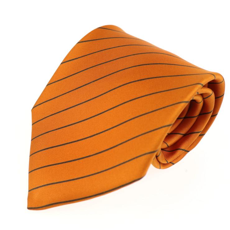 新品未使用展示品 HERMES エルメス ストライプ柄 ネクタイ シルク オレンジ【本物保証】【中古】