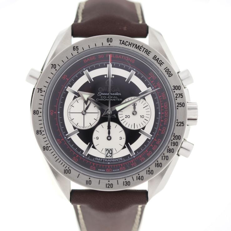 新品未使用展示品 OMEGA オメガ スピードマスター ブロードアロー 腕時計 3882.51.37 ステンレススチール レザー ブラック ブラウン【本物保証】【中古】