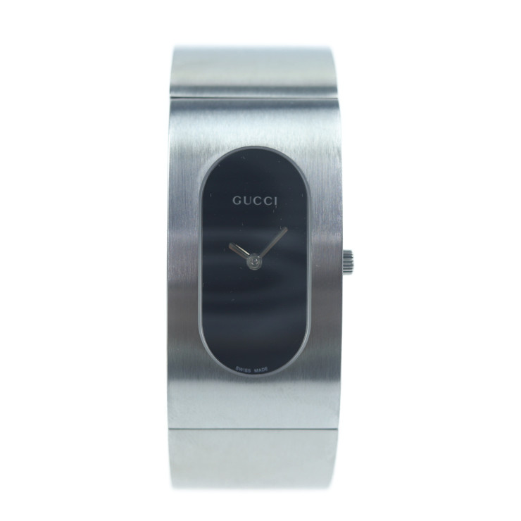 美品 GUCCI グッチ 腕時計 2400L ステンレススチール シルバー 黒文字盤 バングルウォッチ【本物保証】【中古】