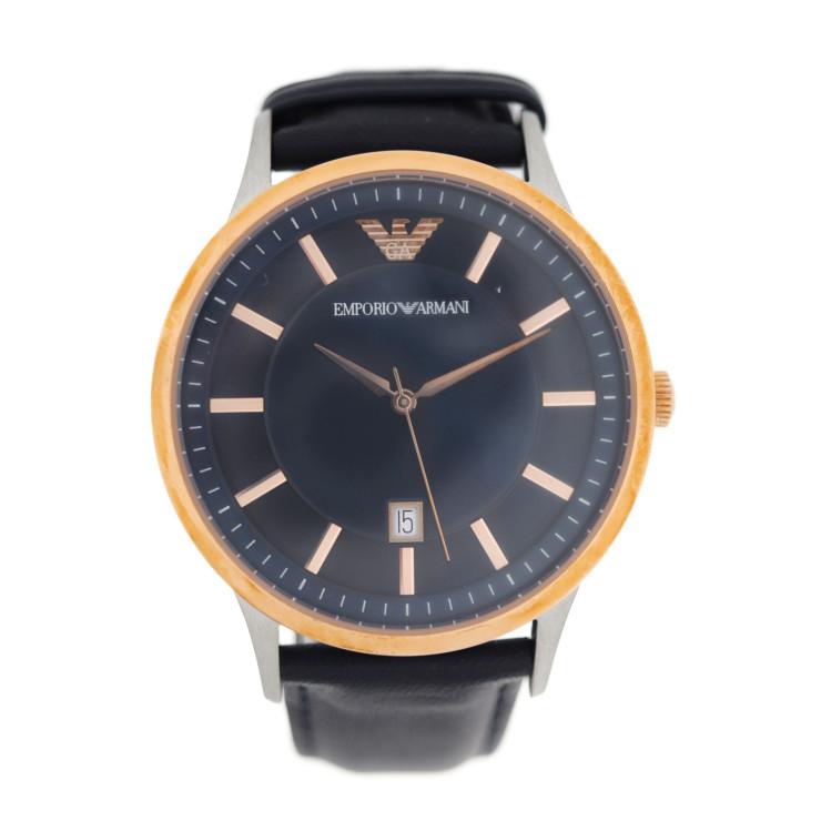 新品未使用展示品 Emporio Armani エンポリオ アルマーニ 腕時計 AR-2506 111801 ステンレススチール レザー ブラック ゴールド【本物保証】【中古】
