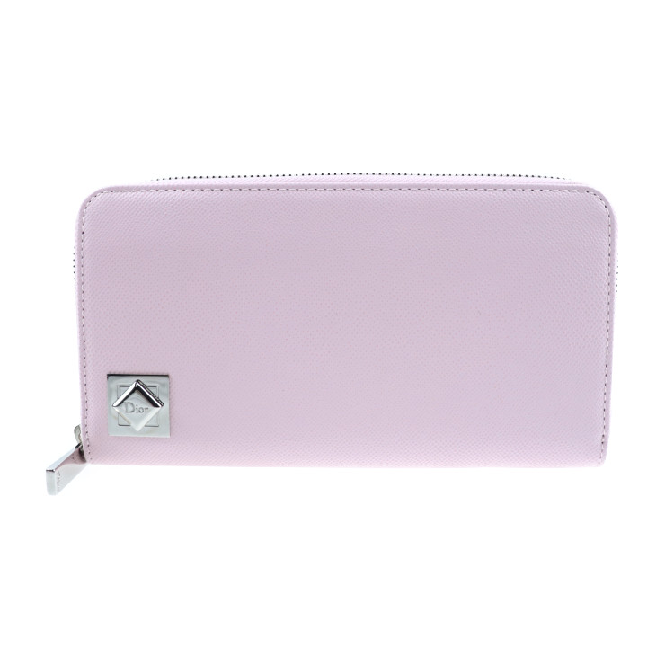 新品未使用展示品 Dior ディオール 長財布 レザー ピンク ラウンドファスナー【本物保証】【中古】