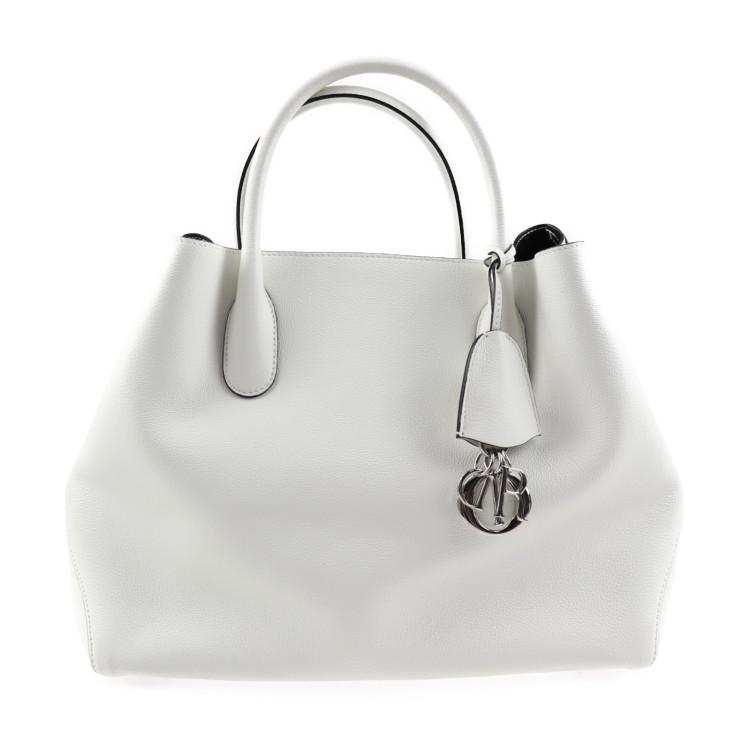 超美品 Christian Dior クリスチャンディオール オープンバー 2WAY トートバッグ M1066PVFW レザー ホワイト【本物保証】【中古】