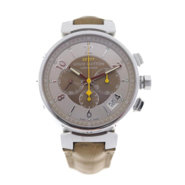 LOUIS VUITTON ルイ ヴィトン タンブール エルプリメロ クロノグラフ 腕時計 Q1142 ステンレススチール ブラウン文字盤 LV277【本物保証】【中古】