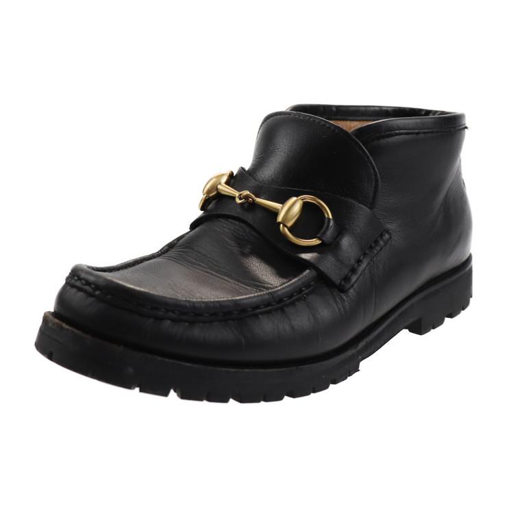 GUCCI グッチ アンクル ブーツ 104 0088 カーフ ブラック [参考サイズ]22 表記サイズ 35【本物保証】【中古】