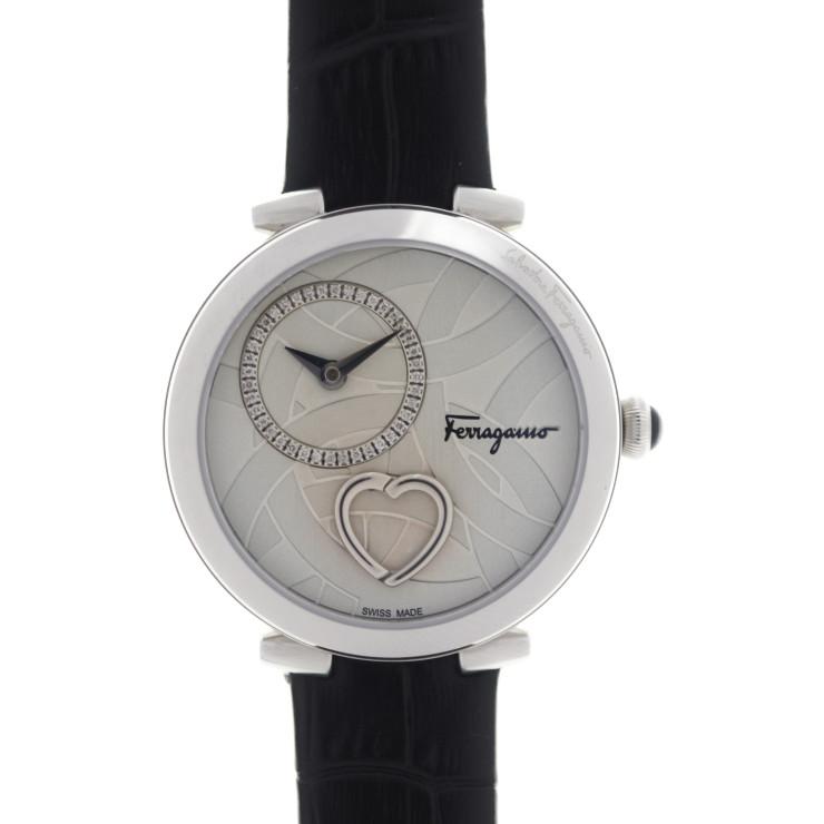 超美品 Salvatore Ferragamo サルヴァトーレ フェラガモ Cuore 腕時計 FE2020016 ステンレススチール レザー シルバー ブラック クオーツ【本物保証】【中古】