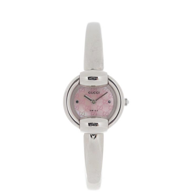 超美品 GUCCI グッチ ピンクシェル 腕時計 YA014513 1400L ステンレススチール ピンク シルバー【本物保証】【中古】