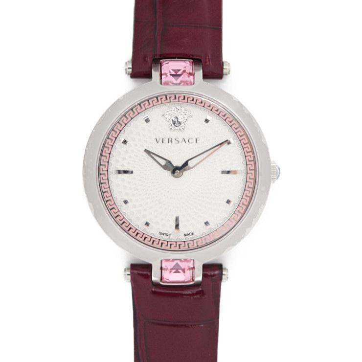 新品未使用展示品 VERSACE ヴェルサーチ クリスタルグリーム 腕時計 ステンレススチール シルバー パープル クオーツ【本物保証】【中古】