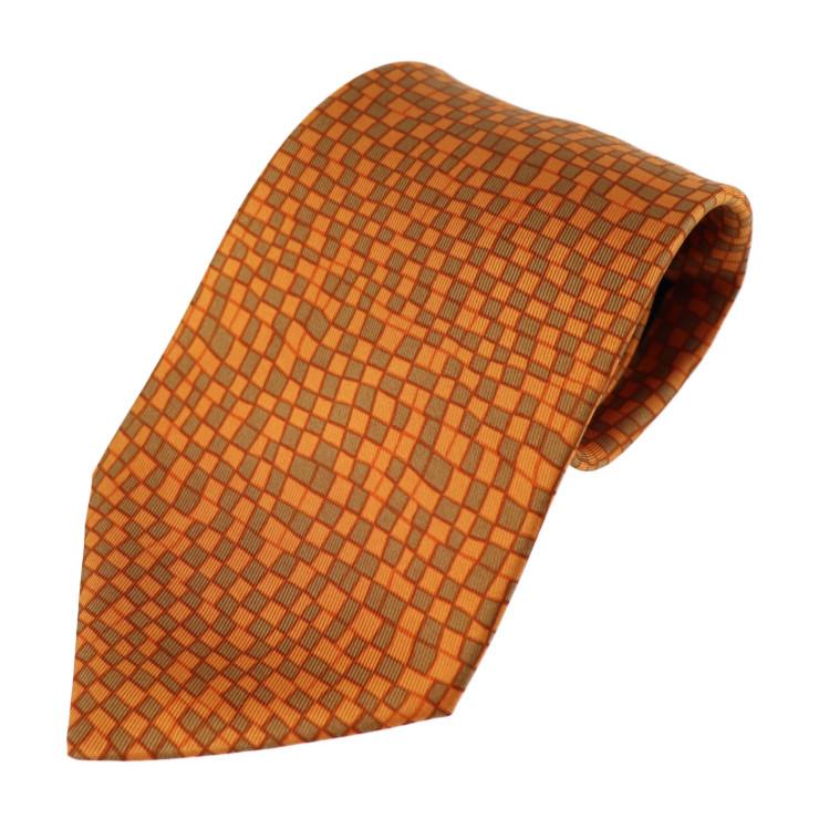 新品未使用展示品 HERMES エルメス ネクタイ シルク オレンジ 小物 アパレル【本物保証】【中古】