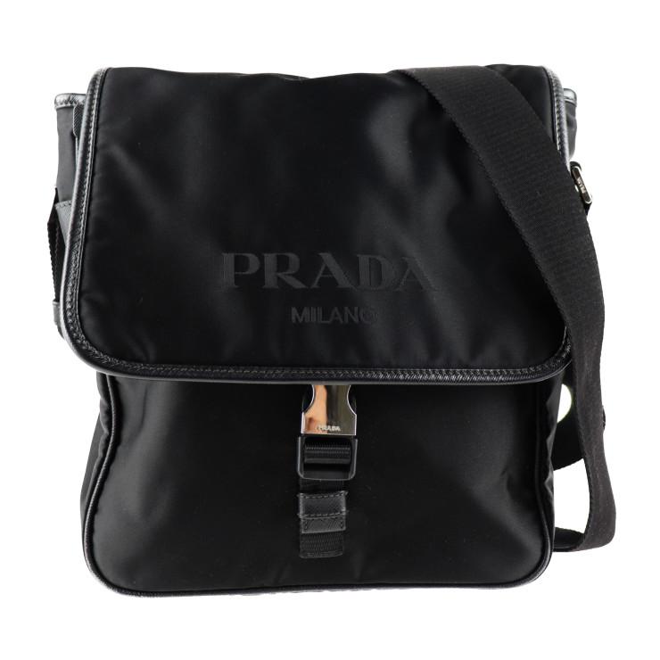 美品 PRADA プラダ ショルダーバッグ VA0770 ナイロン レザー ブラック【本物保証】【中古】