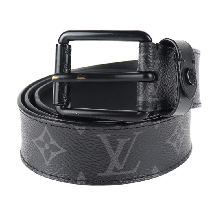 LOUIS VUITTON ルイ ヴィトン サンチュール ヴォヤジャー モノグラム エクリプス ベルト M0043 PVC レザー ブラック グレー 表記サイズ 90/36【本物保証】【中古】