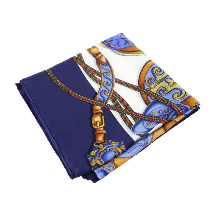 超美品 HERMES エルメス カレ45 アマゾネスの祭り スカーフ シルク ブルー【本物保証】【中古】