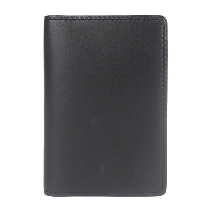 LOUIS VUITTON 安全 ルイ ヴィトン カードケース 美品 オーガナイザー ドゥ レザー ポッシュ M85010 ノワール 本物保証 中古 授与 ノマド