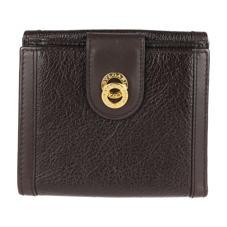 BVLGARI 専門店 ブルガリ 二つ折り財布 超美品 ダークブラウン 低廉 本物保証 中古 レザー