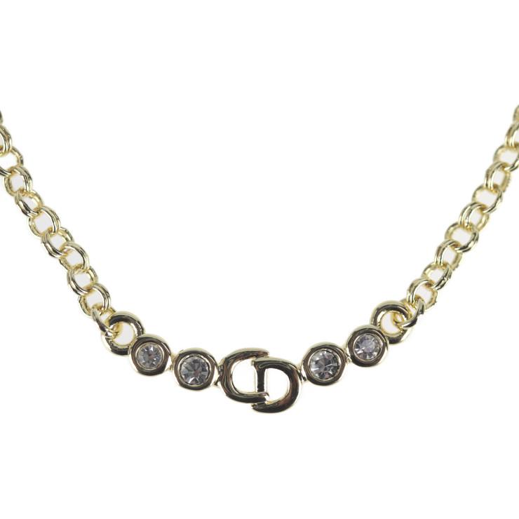 Christian Dior クリスチャンディオール 新作 大人気 ネックレス 超美品 メタル 本物保証 ラインストーン 中古 ゴールド CDロゴ 贈り物