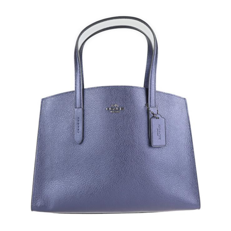 COACH コーチ トートバッグ 毎日続々入荷 新品未使用展示品 31037 中古 メタリックレザー 本物保証 ネイビー 2Way 感謝価格