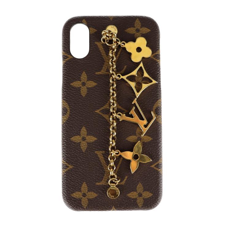LOUIS VUITTON 贈答品 ルイ 新色追加して再販 ヴィトン その他小物 モノグラム M63899 モノグラムキャンバス ブラウン チェーンチャーム付き ゴールド X Xs 中古 本物保証 iPhoneケース バンパー