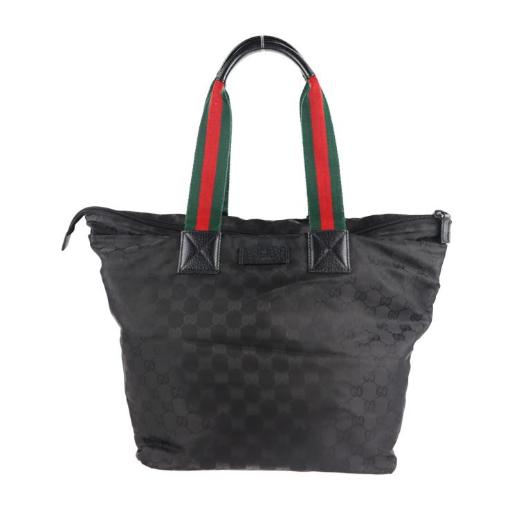 GUCCI グッチ トートバッグ 美品 シェリーライン 131231 GGナイロン 新作製品 世界最高品質人気 本物保証 ブラック 購買 中古