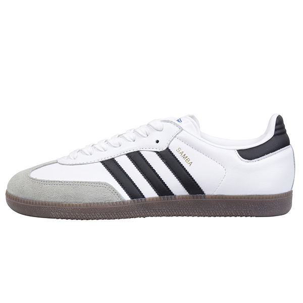adidas アディダス SAMBA メンズ スニーカー WHITE/BLACK サンバ オリジナルス ビンテージ ホワイト ブラック レザー ガムソール 男性用 靴 送料無料 BZ0057