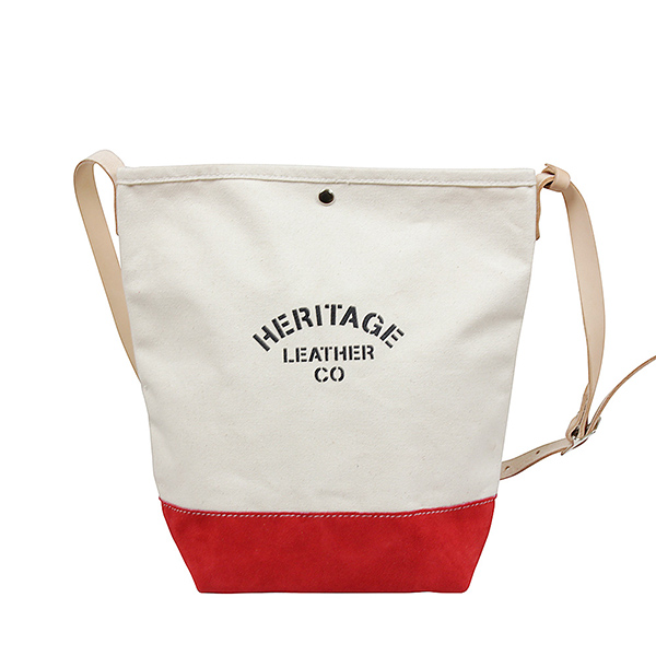 HERITAGE LEATHER ヘリテージレザー スエードボトム バケット ショルダーバッグ NATURAL/RED MADE IN USA アメリカ製 レッド 赤 メンズ レディース 男女兼用 トートバッグ かばん 送料無料