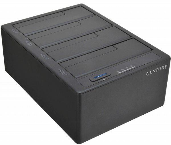 センチュリー CROS4EU3S6G CROS4EU3S6G 裸族のお立ち台QUAD (クアッド)USB3.0とeSATAの2種のインターフェイスを搭載! コンパクトな筺体にHDD/SSDを最大4台搭載可能なHDDケース