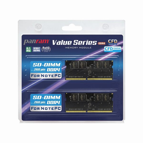 CFD W4N2400PS-8G Panram DDR4-2400 ノート用メモリ 260pin SO-DIMM 2枚組(8GBx2)