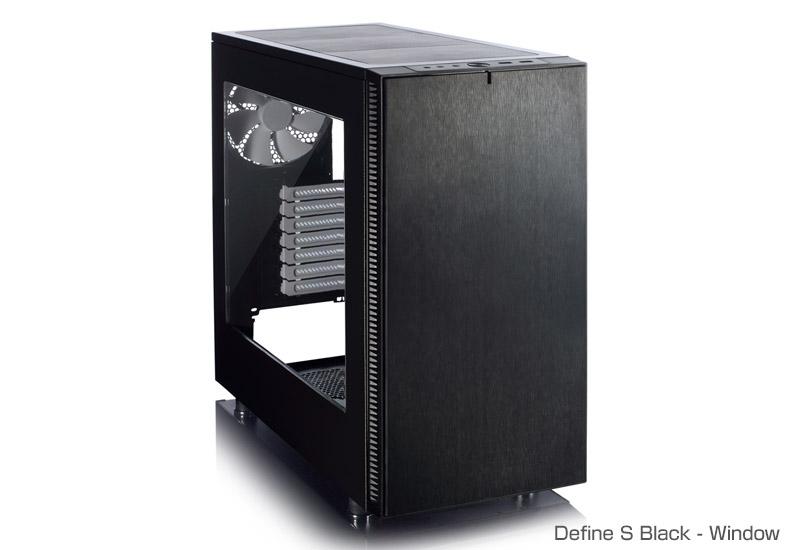 FractalDesign FD-CA-DEF-S-BK-W [Define S Black - Window]スタイリッシュなフロントデザイン エアフロー、静音性、冷却ユニットへの対応を重視したミドルタワー型PCケース(アクリルウィンドウモデル)