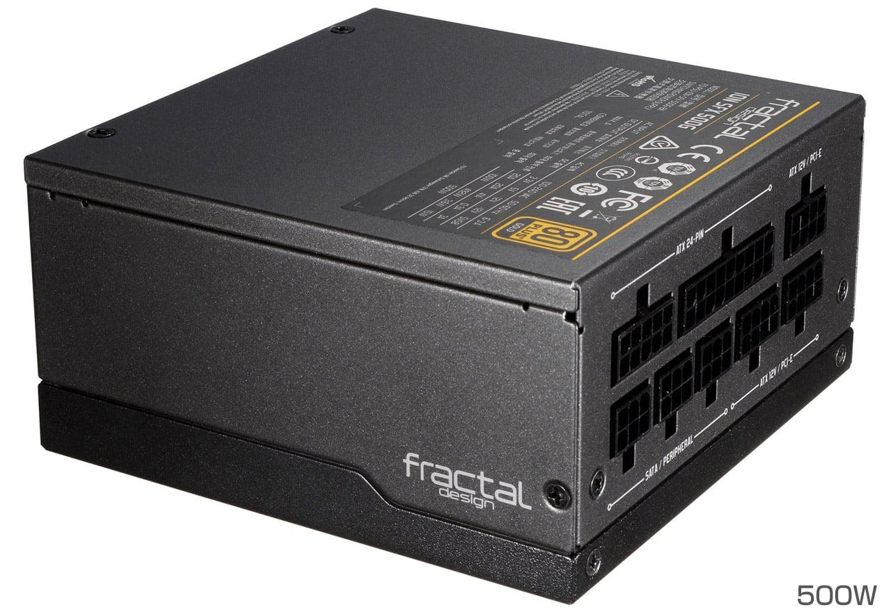 FractalDesign FD-PSU-ION-SFX-500G-BK ION SFX 500G 500W 80PLUS GOLD認定取得。柔軟性に優れたケーブルを採用し、小型PCに最適なSFX-Lフォームファクターに準拠したフルモジュラータイプの電源ユニット(PS874)