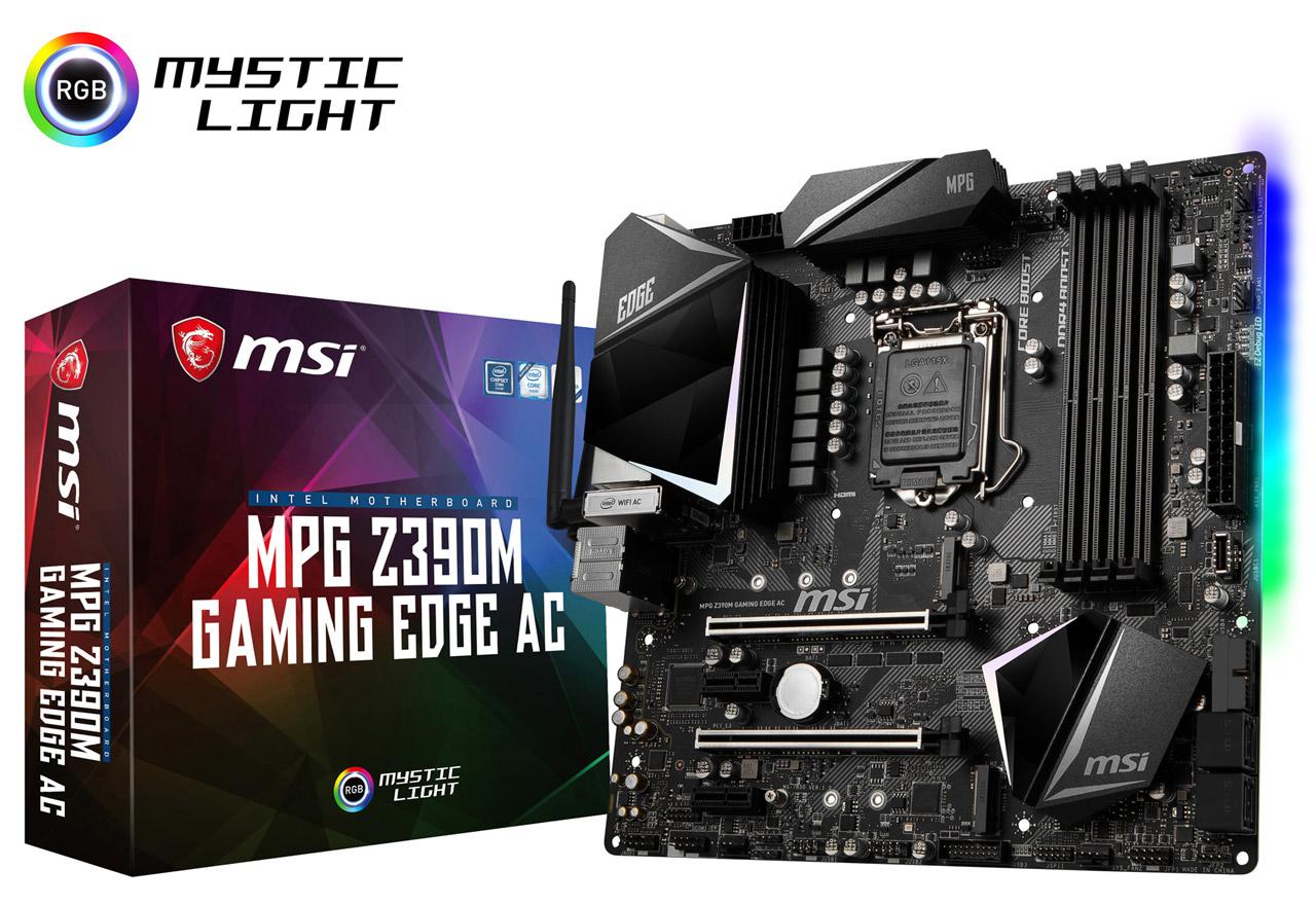MSI MPG Z390M GAMING EDGE AC (MB4618) Intel Z390チップセット搭載。優れたゲーミング体験を実現する設計と多彩な機能を備えたmicroATXマザーボード