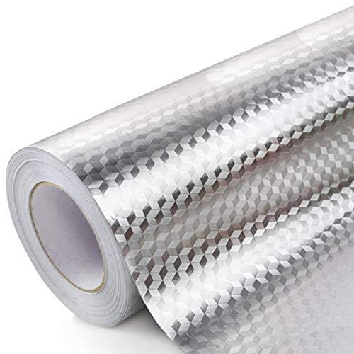 SALE キッチン シール 壁紙 PVC製 カッティングシート ダイヤ 舗 SW1586 40cm幅 ステンレス調 10m