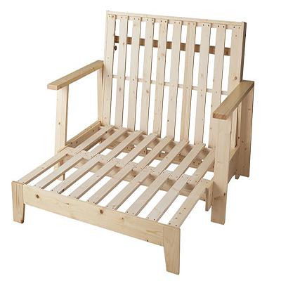 送料無料 敷布団で楽しむ伸縮型天然木すのこソファベット Dueto ドゥエート フレームのみ 140cm *500024472