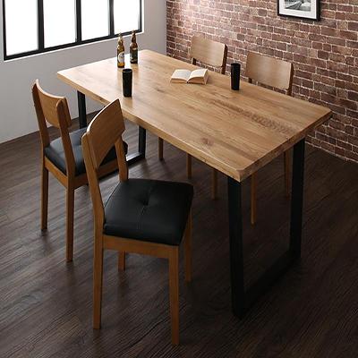 送料無料 オーク無垢材ヴィンテージデザインワイドサイズダイニング Lepus レプス 5点セット(テーブル+チェア4脚) W180 *500026221
