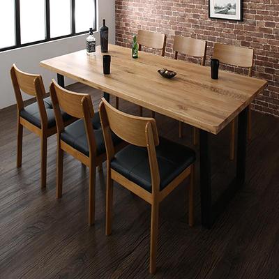 送料無料 オーク無垢材ヴィンテージデザインワイドサイズダイニング Lepus レプス 7点セット(テーブル+チェア6脚) W180 *500026223