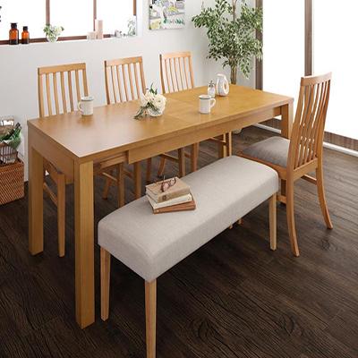 Costa コスタ 3段階伸縮ダイニングテーブル 6点セット (テーブル 幅145-175-205+チェア4脚+ベンチ1脚) 天然木 木製 天板拡張 角型 6人用 500026822 ハイバックチェア ダイニング 6人掛け 食卓テーブル 伸縮式 伸長式テーブル エクステンションテーブル モダン 北欧 送料無料