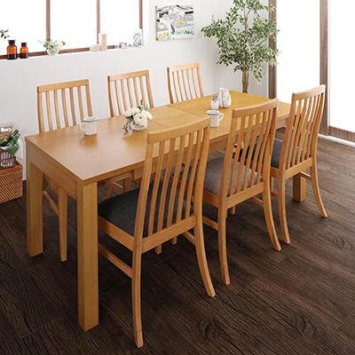 Costa コスタ 3段階伸縮 ハイバックチェア ダイニングテーブル 7点セット(テーブル 幅145-175-205+チェア6脚) 天然木 木製 天板拡張 角型 6人用 500026824 ダイニング 6人掛け 食卓テーブル 伸縮式 伸長式テーブル エクステンションテーブル モダン 北欧 送料無料