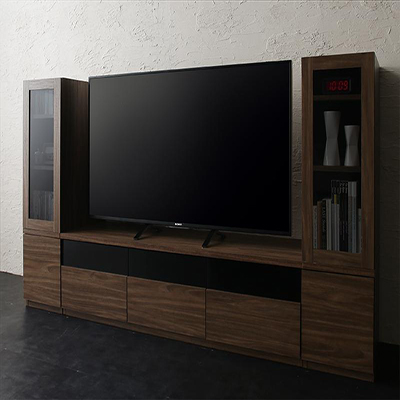 送料無料 キャビネットが選べるテレビボードシリーズ add9 アドナイン 3点セット(テレビボード+キャビネット×2) ガラス扉 W140 500027029