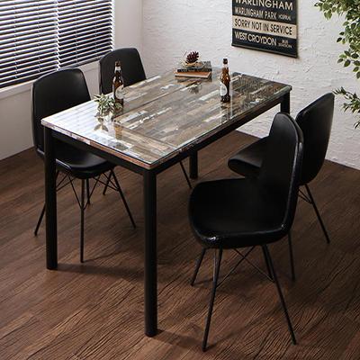 送料無料 ヴィンテージデザインガラスダイニング volet ヴォレ 5点セット(テーブル+チェア4脚) W130 500027342