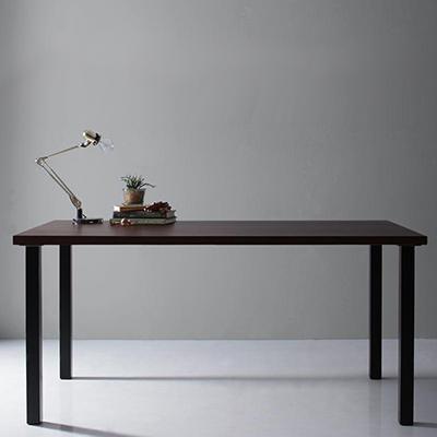 送料無料 天然木天板 スチール脚 モダンデザインテーブル Gently ジェントリー ブラウン ストレート脚 W150 500027472