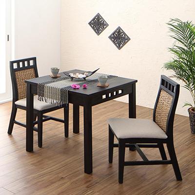 送料無料 アジアンモダンダイニングセット Kubera クベーラ 3点セット(テーブル+チェア2脚) W76 500028090