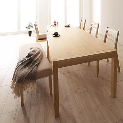 送料無料 無段階で広がる スライド伸縮テーブル ダイニングセット AdJust アジャスト 6点セット(テーブル+チェア4脚+ベンチ1脚) W120-200 500028106