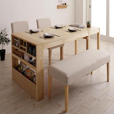 送料無料 無段階に広がる スライド伸縮テーブル ダイニングセット Magie+ マージィプラス 4点セット(テーブル+チェア2脚+ベンチ1脚) シェルフ付き W120-200 500028115