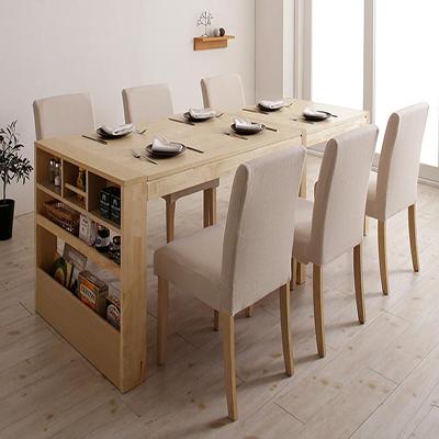 送料無料 無段階に広がる スライド伸縮テーブル ダイニングセット Magie+ マージィプラス 7点セット(テーブル+チェア6脚) シェルフ付き W120-200 500028121