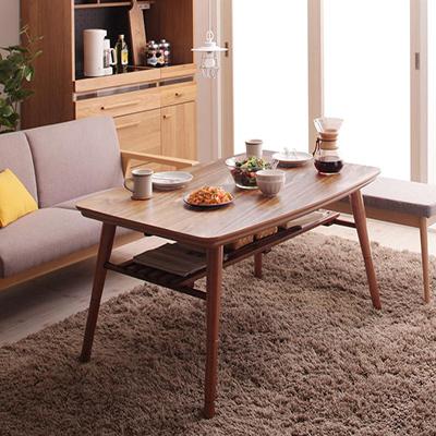 送料無料 こたつテーブル 4尺長方形 80×120cm 高さ調整 棚付きデザインこたつテーブル Kielce キェルツェ 継ぎ脚 リビングテーブル 座卓 ウォールナットブラウン 500028243