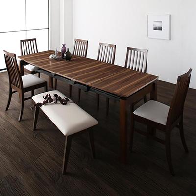 送料無料 ダイニングテーブルセット 8点セット テーブル 幅140-240cm +チェア6脚+ベンチ1脚 天然木ウォールナット材 ハイバックチェア ダイニング Austin オースティン 伸縮 エクステンション 木製 8人掛け 8人用 角型 食卓 ウォールナット ブラウン ブラック ホワイト