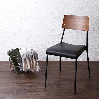 送料無料 食卓 チェアのみ 2脚セット 異素材ミックスカフェスタイルダイニング paint ペイント ダイニング チェアー 2脚組 椅子 スチール 合成皮革 ブラウン 500029173
