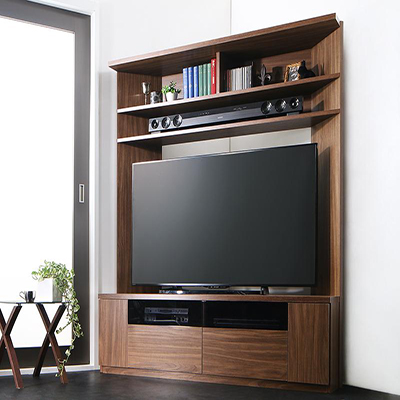 送料無料 ハイタイプ テレビ台 55V型 まで対応 幅134×奥行き40×高さ160cm 薄型 大型テレビ対応ハイタイプコーナーテレビボード city angle シティアングル 木製 壁面 コーナー ウォルナットブラウン 500029564