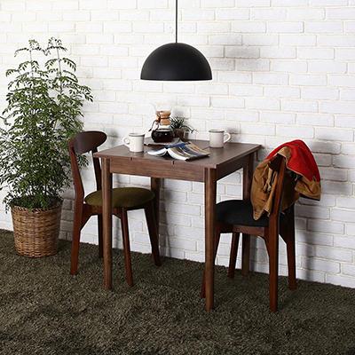 送料無料 ダイニングセット 3点セット(テーブル ブラウン W68+チェア2脚) カフェ ヴィンテージ ダイニング Mumford マムフォード 木製 食卓 2人掛け ダークグレー グリーン 500029659