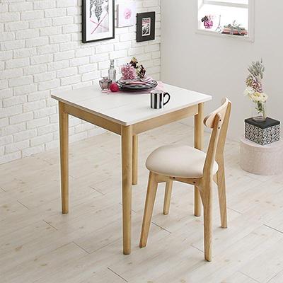 送料無料 ダイニング 2点セット(ダイニングテーブル W68+ チェア 1脚) カワイイテイスト ダイニング Lauren ローレン 天然木 木製 食卓テーブル 1人掛け アイボリー ライトグレー 500029679