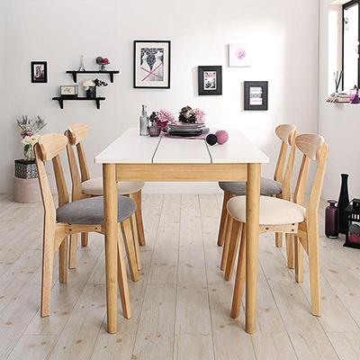 送料無料 ダイニング 5点セット(テーブル 幅115+チェア4脚) カワイイテイスト ダイニング Lauren ローレン 天然木 木製 食卓テーブル 4人掛け アイボリー ライトグレー 500029685
