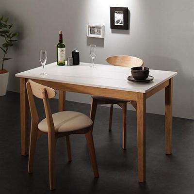 送料無料 ダイニング 3点セット (ダイニングテーブル ホワイト×ナチュラル 幅115 + チェア 2脚) モダン Worth ワース 天然木 木製 食卓テーブル 2人掛け アイボリー ダークグレー 500029708