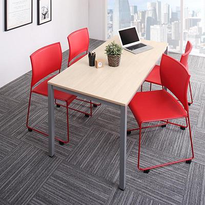 送料無料 オフィスデスク 5点セット (テーブル 幅150 + チェア4脚) おしゃれ 150 ミーティングテーブル&スタッキングチェアセット Sylvio シルビオ 木製 スチール脚 平机 ダークブラウン ホワイト ナチュラル 500033521